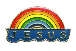 "96 of Brass Hat Pin, ""jesus"" Rainbow"