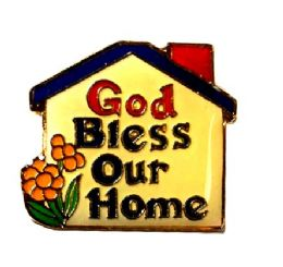 "96 of Brass Hat Pin, ""god Bless Our Home"""