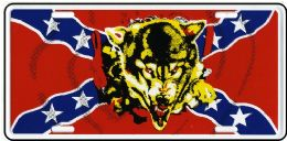 24 of Rebel Flag With Wolf Metal License Plate