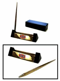 12 of Brass Pen Set With Brass Rebel Flag Insignia