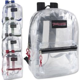 24 of Trailmaker Classic 17 Inch Clear Backpack - 5 Assorted Colors