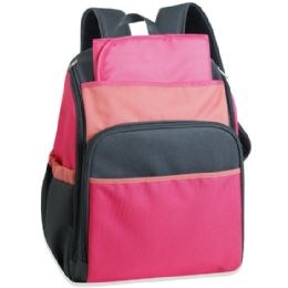 24 of 17 Inch Pink Color Block Diaper Backpack