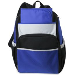 24 of Blue Color Block Diaper BackpacK- 17 Inch