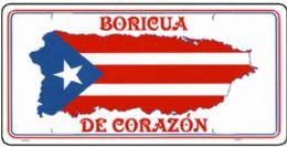 "24 of ""boricua De Corazon"" Metal License Plate"