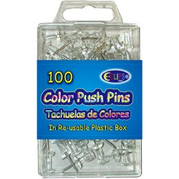 48 of 100 Count Clear Push Pins