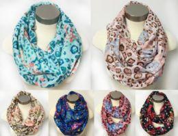 12 of Floral MultI-Color Leopard Design Scarves