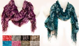 12 of Wholesale Silver Lined Ruffle Striped Scarves W/ Fringes