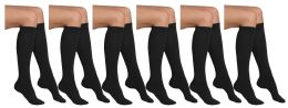 6 of Yacht & Smith Womens Knee High Socks, Cotton, Flat Knit, Solid Colors Black
