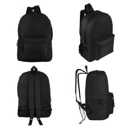 "24 of 17"" Kids Basic Black Backpacks"