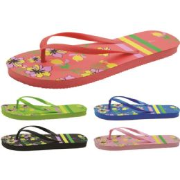 60 of Women's Flower Printed Flip Flops
