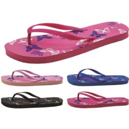 60 of Women's Butterfly Printed Flip Flops