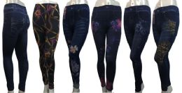 24 of Denim Print Leggings In Assorted Patterns