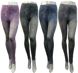 24 of Wholesale Distressed Deniem Look Leggings Assorted