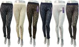 24 of Wholesale Flower Lace Legging Assorted Colors One Size