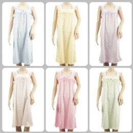 24 of Women Pajama Night Gown Small Flower Print Assorted