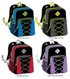 "24 of 17"" Bungee Backpacks With Side Mesh Pocket - Assorted Colors"