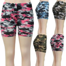 36 of Women's Stretchy Shorts - Camouflage Printsts