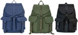 "24 of 17.5"" Cotton Canvas Backpacks W/ MultI-Pockets - Assorted Colors"