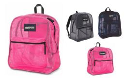 "24 of 17"" Durable Mesh Material Backpacks - Assorted Colors"