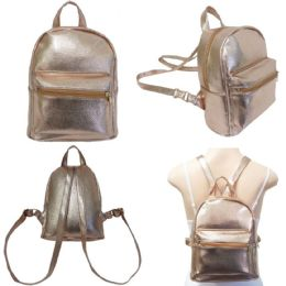 """18 of 10"""" Faux Leather Mini Backpacks - Rose Gold"""