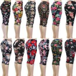 48 of Women's Capri Leggings - Floral Prints - One Size Fits Most