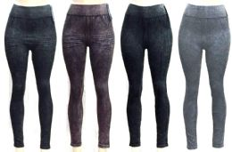 72 of Women's Washed Denim Seamless Leggings - Assorted Colors - One Size Fits Most