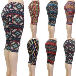 36 of Women's Capri Leggings - Aztec & Geometric Prints - One Size Fits Most