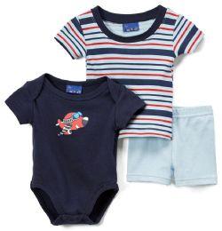 24 of Newborn Boy's Shorts, T-Shirt & Onesie Set - Plane Prints - Sizes 3-12m