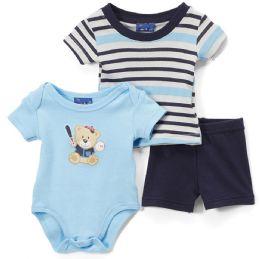 24 of Newborn Boy's Shorts, T-Shirt & Onesie Set - Bear Prints - Sizes 3-12m