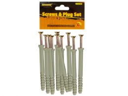 """144 of 4"""" Screws With Ribbed Plastic Anchors Set"""