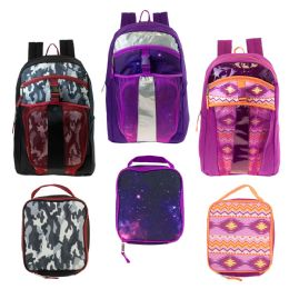 "24 of 17"" Wholesale Backpacks With Lunch Box In 3 Assorted Prints"