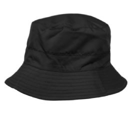 12 of Waterproof Packable Rain Bucket Hats With Zipper Closure In Black