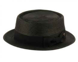 12 of Poly Braid Pork Pie Hats With Grosgrain Band In Black
