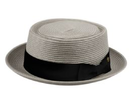 12 of Poly Braid Pork Pie Hats With Grosgrain Band In Gray
