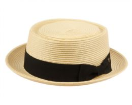 12 of Poly Braid Pork Pie Hats With Grosgrain Band In Natural