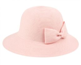 12 of Poly Braid Bucket Sun Hats With Ribbon In Indi Pink