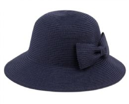 12 of Poly Braid Bucket Sun Hats With Ribbon In Navy