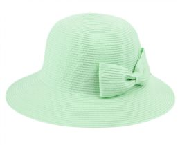 12 of Poly Braid Bucket Sun Hats With Ribbon In Mint