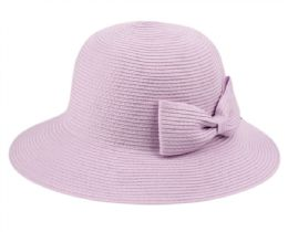 12 of Poly Braid Bucket Sun Hats With Ribbon In Lavender
