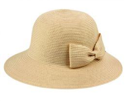 12 of Poly Braid Bucket Sun Hats With Ribbon In Khaki