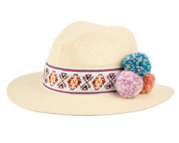 12 of Ladies Panama Hat With Band & Flower Trim