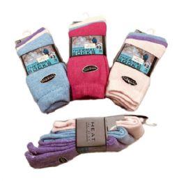 60 of Womens Brushed Thermal Crew Socks 9-11 Pastel Colors