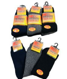 60 of Mens Thermal Crew Socks Size 10-13 Assorted Colors With Brushed Interior