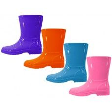 24 of Children's Water Proof Plain Rubber Rain Boots
