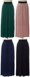 24 of Women's Pleated Solid Color Maxi Skirts