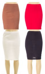24 of Women's Solid Color Snakeskin Pencil Skirts