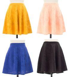 24 of Women's Floral Embossed Skater Skirt