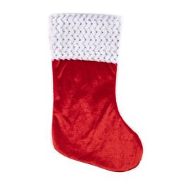 24 of Santa Stocking Red Velvet 18in Sequin Trim Xmas Ht/jhook