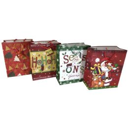 """48 of Party Solutions Xmas Gift Bag Medium 7w""""x4d""""x9h"""" Braided Rope Handle Astd Designs"""