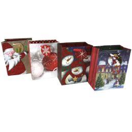 "48 of Party Solutions Glitter Xmas Gift Bag Medium 7""wx4d""x9h"" Satin Handle Astd Designs"